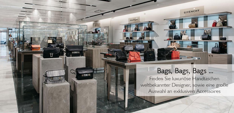 Taschen und Handtaschen von Top-Designern am Accessoires Floor im Kaufhaus Steffl Wien