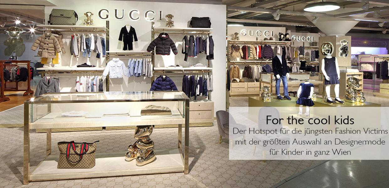 Kindermode wie etwa von Gucci finden Sie im Kaufhaus Steffl im Kid's Floor