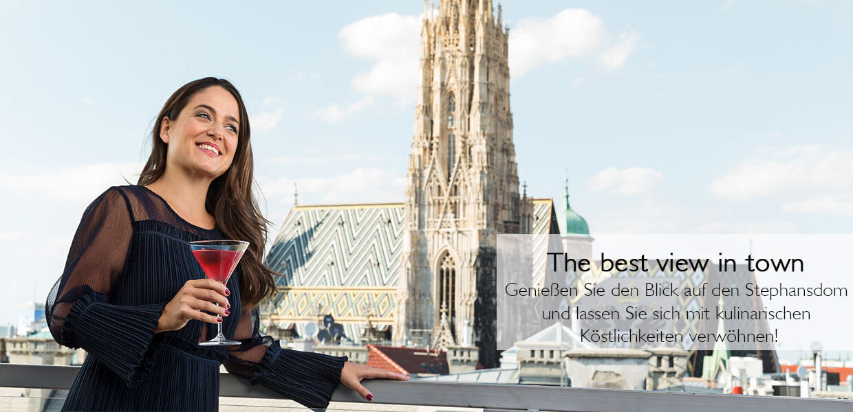 SKY Bar & Restaurant mit Aussicht auf den Stephansdom finden Sie im obersten Geschoss im Kaufhaus Steffl in Wien