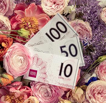 Gutscheine im Wert von 10 EUR, 50 EUR und 100 EUR im Kaufhaus Steffl Wien